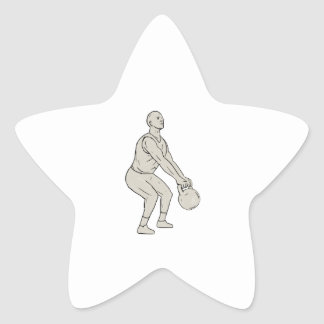 Athlete Fitness Squatting Kettlebell Drawing Star Sticker