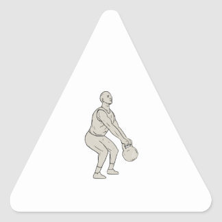 Athlete Fitness Squatting Kettlebell Drawing Triangle Sticker
