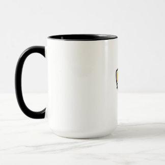 Athlete Lifting Kettlebell Dumbbell Crest Woodcut Mug