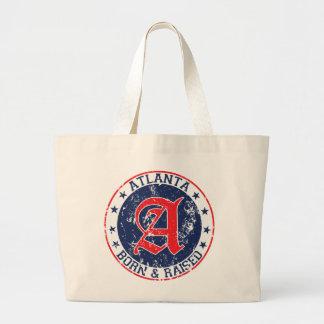 Atlanta born and raised blue tote bag