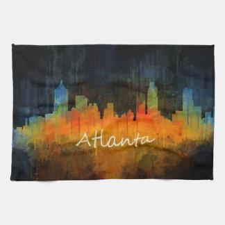 Atlanta City Watercolor Skyline v4 Dark Hand Towels