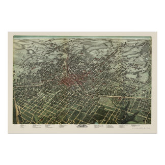 Atlanta, GA Panoramic Map - 1892 Poster