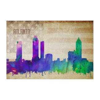 Atlanta, GA | Watercolor City Skyline Acrylic Wall Art