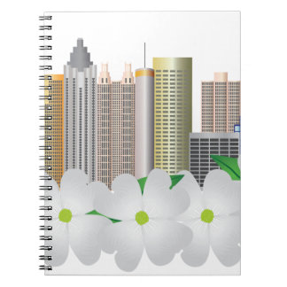 Atlanta Georgia City Skyline with Dogwood Note Book