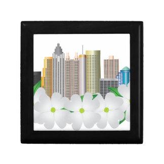Atlanta Georgia City Skyline with Dogwood Small Square Gift Box