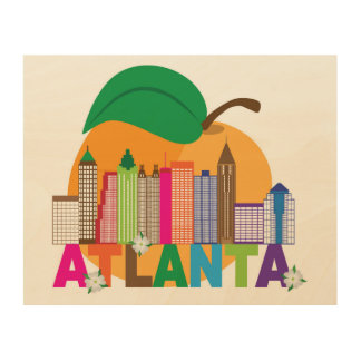 Atlanta, Georgia | Peach Skyline Wood Wall Art