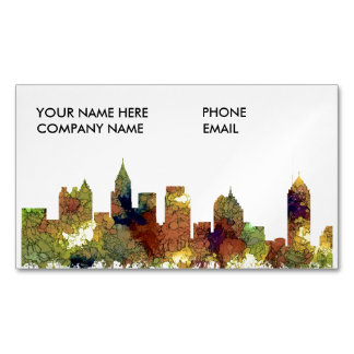 Atlanta Georgia Skyline SG-Safari Buff Magnetic Business Card