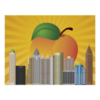 Atlanta Georgia Skyline with Peach Illustration Po Poster