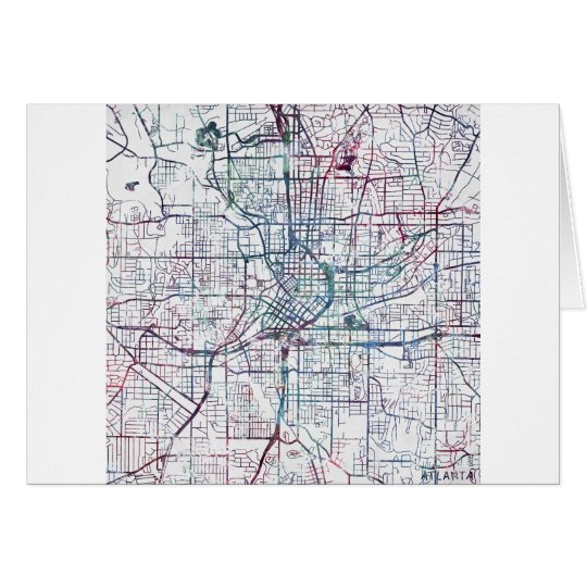 atlanta map painting card
