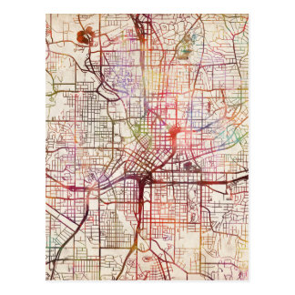 atlanta map painting postcard