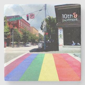 Atlanta Rainbow Crosswalk, 10th Piedmont, Midtown Stone Coaster