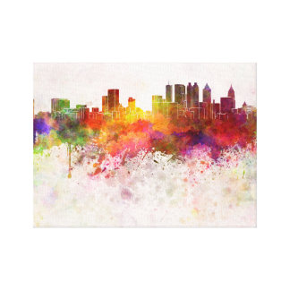 Atlanta skyline in watercolor background canvas print
