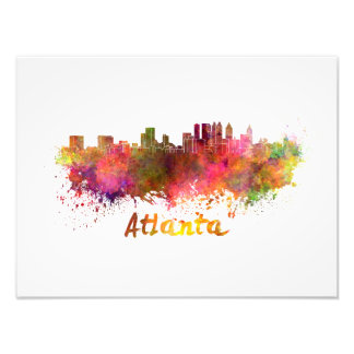 Atlanta skyline in watercolor photo print