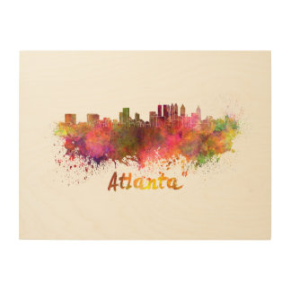 Atlanta skyline in watercolor wood wall decor