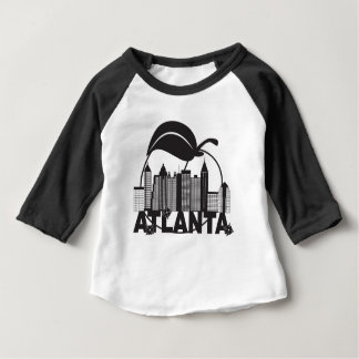 Atlanta Skyline Peach Dogwood Black White Text Baby T-Shirt