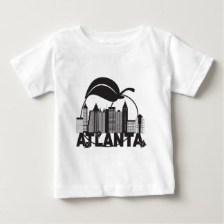 Atlanta Skyline Peach Dogwood Black White Text Baby T-Shirt
