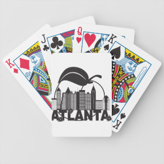Atlanta Skyline Peach Dogwood Black White Text Bicycle Playing Cards