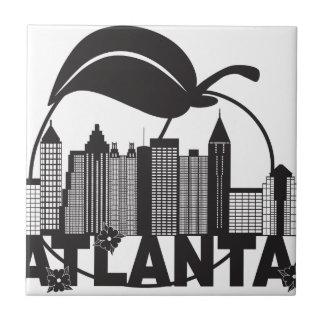 Atlanta Skyline Peach Dogwood Black White Text Ceramic Tile