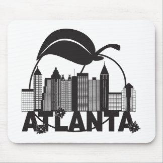 Atlanta Skyline Peach Dogwood Black White Text Mouse Pad