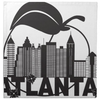 Atlanta Skyline Peach Dogwood Black White Text Napkin