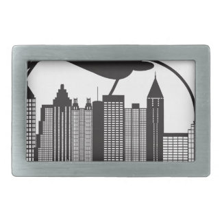 Atlanta Skyline Peach Dogwood Black White Text Rectangular Belt Buckle