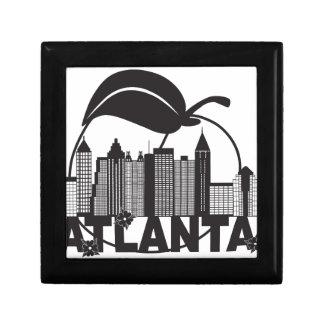 Atlanta Skyline Peach Dogwood Black White Text Small Square Gift Box