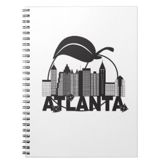 Atlanta Skyline Peach Dogwood Black White Text Spiral Notebooks