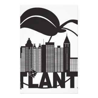 Atlanta Skyline Peach Dogwood Black White Text Stationery