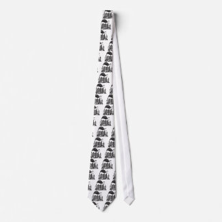 Atlanta Skyline Peach Dogwood Black White Text Tie