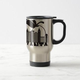 Atlanta Skyline Peach Dogwood Black White Text Travel Mug