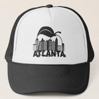 Atlanta Skyline Peach Dogwood Black White Text Trucker Hat