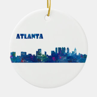 Atlanta Skyline Silhouette Ceramic Ornament