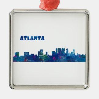 Atlanta Skyline Silhouette Metal Ornament