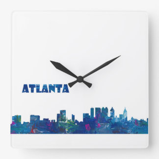 Atlanta Skyline Silhouette Square Wall Clock