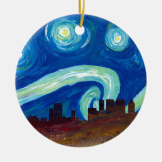 Atlanta Skyline Silhouette with Starry Night Ceramic Ornament