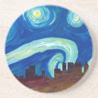 Atlanta Skyline Silhouette with Starry Night Coaster