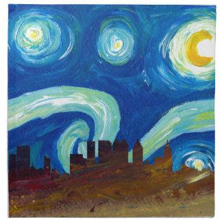 Atlanta Skyline Silhouette with Starry Night Napkin