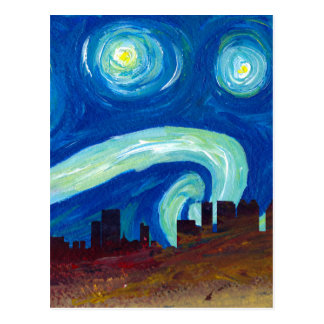 Atlanta Skyline Silhouette with Starry Night Postcard