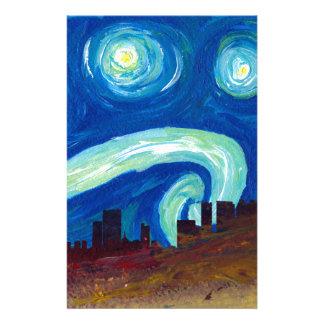 Atlanta Skyline Silhouette with Starry Night Stationery