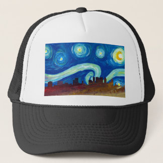 Atlanta Skyline Silhouette with Starry Night Trucker Hat