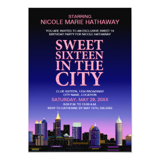 Atlanta Skyline Sweet Sixteen Movie Party Card