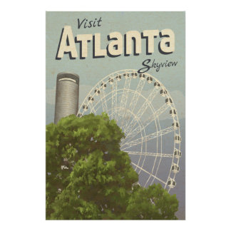 Atlanta Skyview Ferris Wheel Vintage Travel Poster