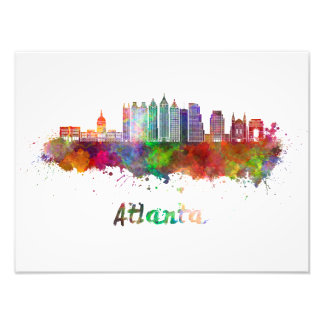 Atlanta V2 skyline in watercolor Photo Print