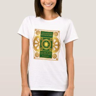 Atlantean Steamworks-Gold & Green on White Marble T-Shirt