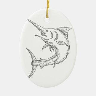 Atlantic Blue Marlin Doodle Ceramic Ornament