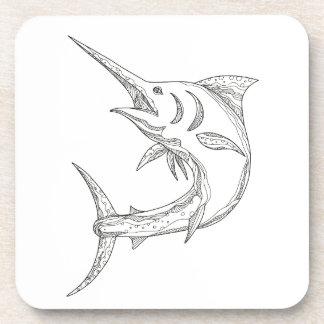 Atlantic Blue Marlin Doodle Coaster