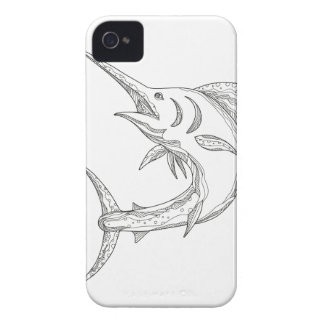 Atlantic Blue Marlin Doodle iPhone 4 Cover