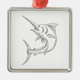 Atlantic Blue Marlin Doodle Metal Ornament