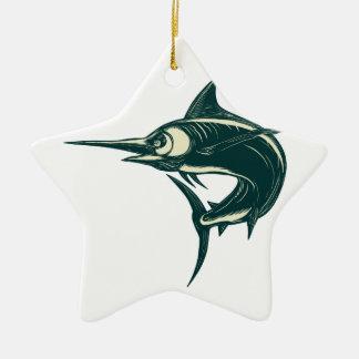 Atlantic Blue Marlin Scraperboard Ceramic Ornament