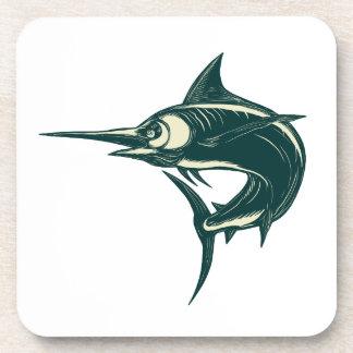 Atlantic Blue Marlin Scraperboard Coaster